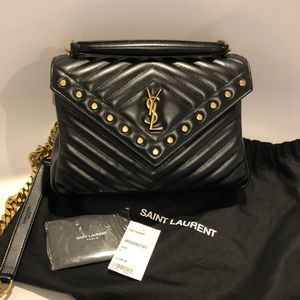 YSL Studded College Matelasse leather Satchel